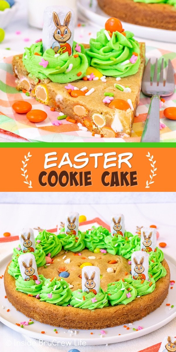 Two pictures of Easter Cookie Cake collaged together with an orange and green text box