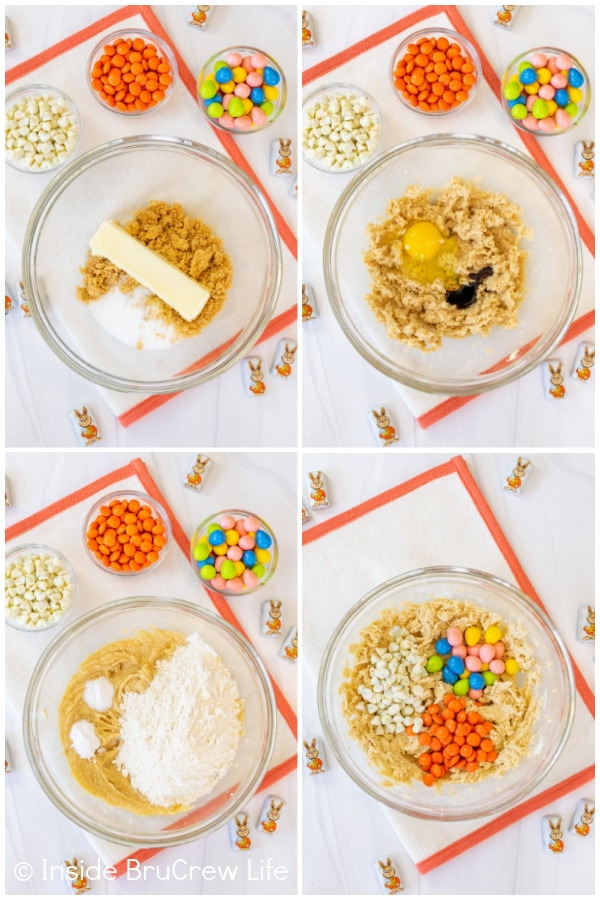 Four pictures collaged together showing how to make the dough for an easter cookie cake