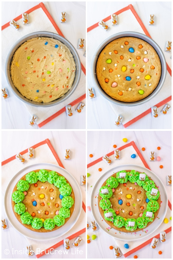 Four pictures showing how to bake and decorate a cookie cake for Easter.