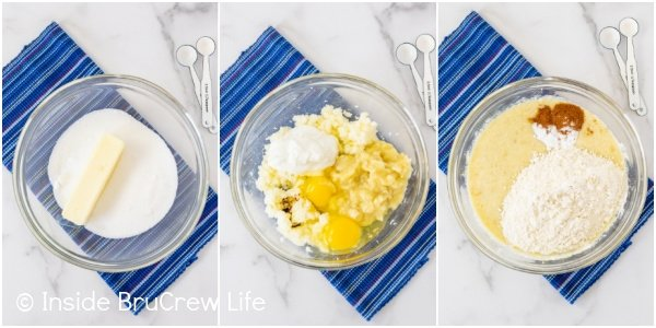 Three pictures collaged together showing how to make sour cream banana bread batter