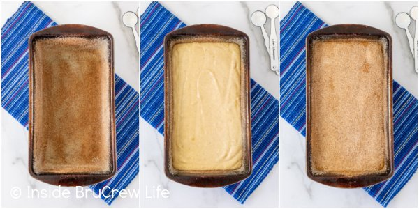 Three pictures collaged together showing a loaf pan prepared with cinnamon sugar for banana bread