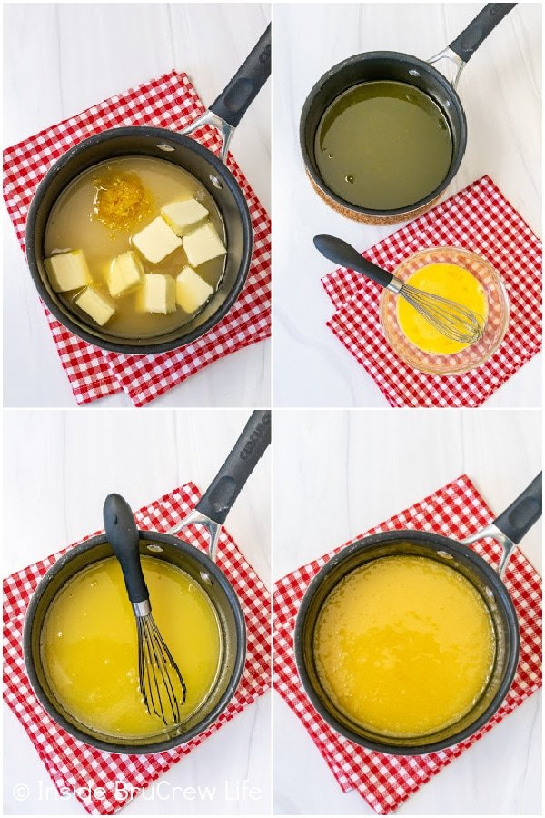 Four pictures collaged together showing how to make lemon curd