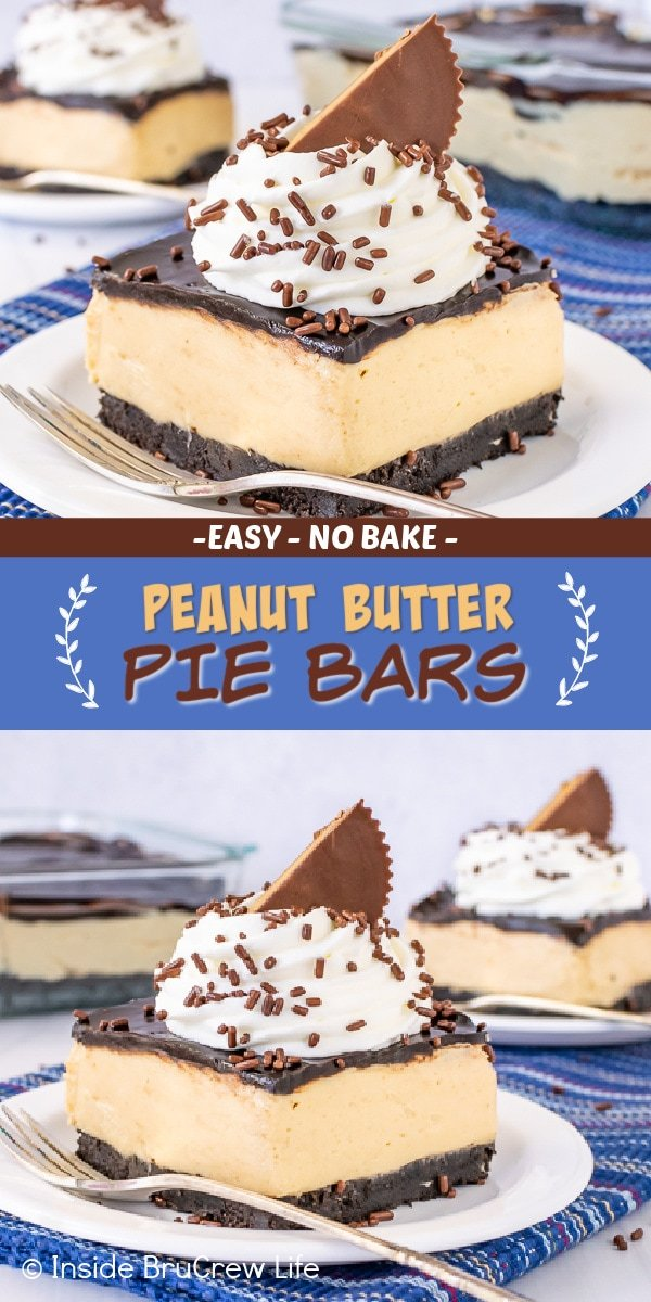 Two pictures of peanut butter pie bars collaged together with a blue text box