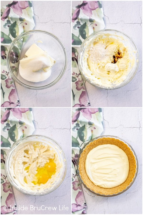 Four pictures collaged together showing the steps for the making cheesecake filling for a cheesecake pie