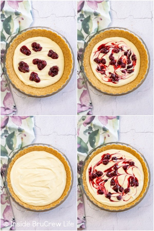 Four pictures collaged together showing how to swirl blackberry pie filling in a cheesecake pie