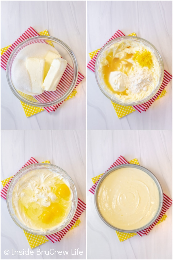 Four pictures collaged together showing how to make the lemon cheesecake filling for a lemon meringue cheesecake