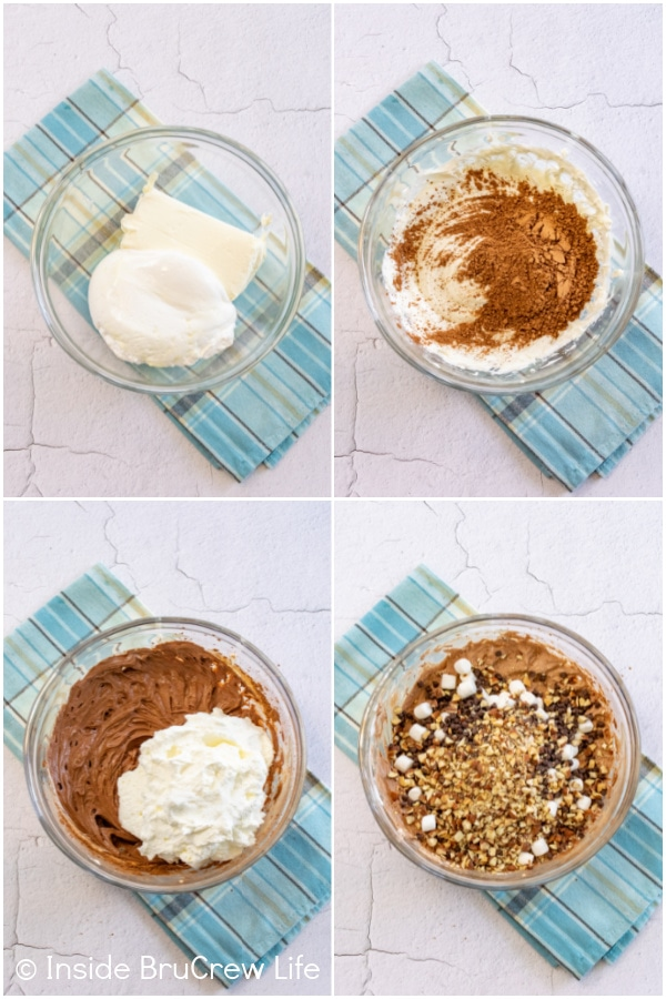 Four pictures collaged together showing the steps for making the filling for a chocolate icebox cake.