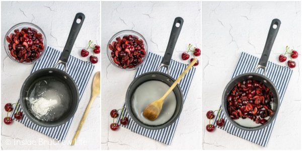Three pictures collaged together showing how to make cherry filling.