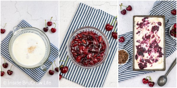Three pictures collaged together showing the steps to make homemade cherry vanilla ice cream.