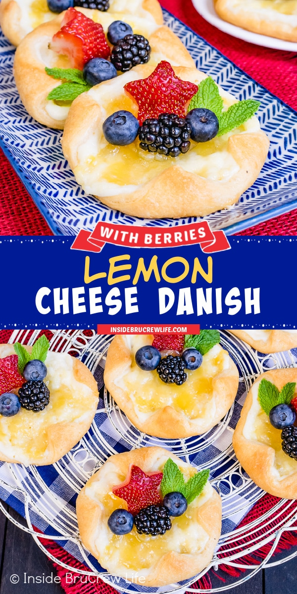 Two pictures of lemon cheese danish collaged together with a blue text box.