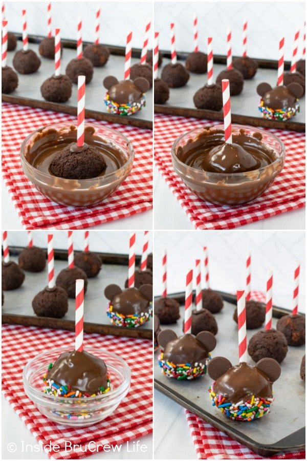 Four pictures collaged together showing the steps to dipping cake pops in chocolate and sprinkles.