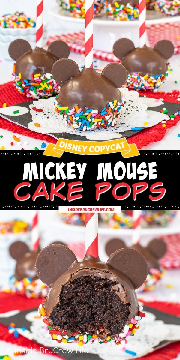Two pictures of Mickey Mouse Cake Pops collaged together with a black text box.
