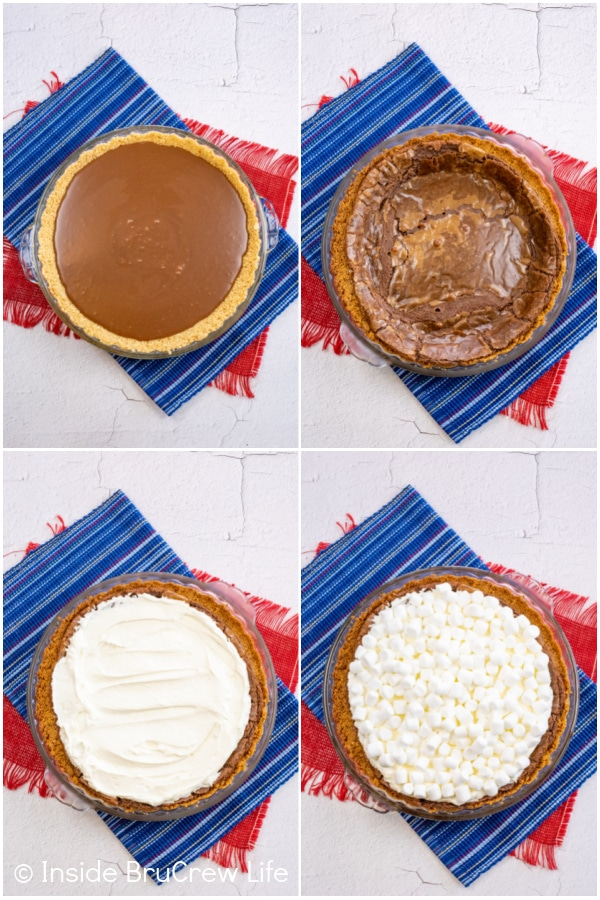 Four pictures collaged together showing the steps to assembling a s'mores pie.