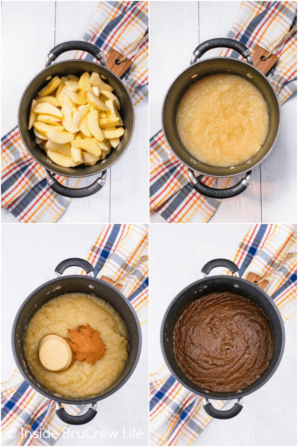 Four pictures collaged together showing the process of cooking apple butter down.
