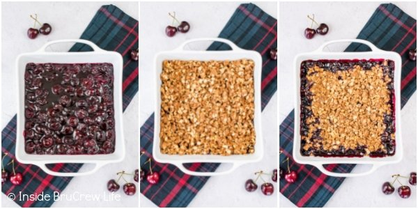 Three pictures collaged together showing how to bake a cherry crisp.
