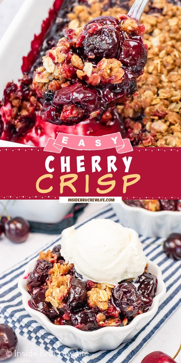 Two pictures of Cherry Crisp collaged together with a red text box.