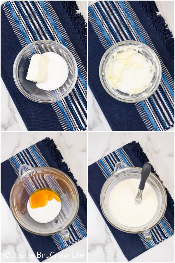 Four pictures collaged together showing the steps to making a homemade vanilla ice cream base.