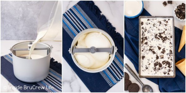 Three photos collaged together showing the steps to churn cookies and cream ice cream.