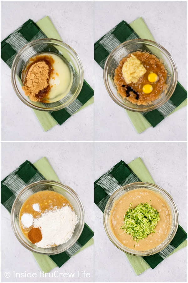 Four pictures collaged together showing how to make the batter for banana zucchini bread.