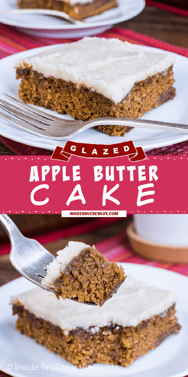 Two pictures of Apple Butter Cake collaged together with a pink text box.