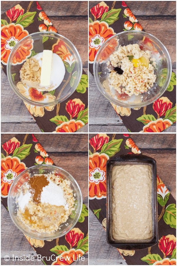 Four pictures collaged together showing the steps to make apple cider bread.