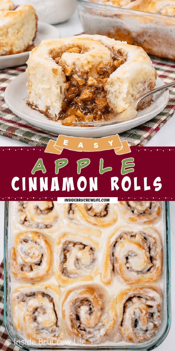 Two pictures of Apple Cinnamon Rolls collaged together with a burgundy text box.