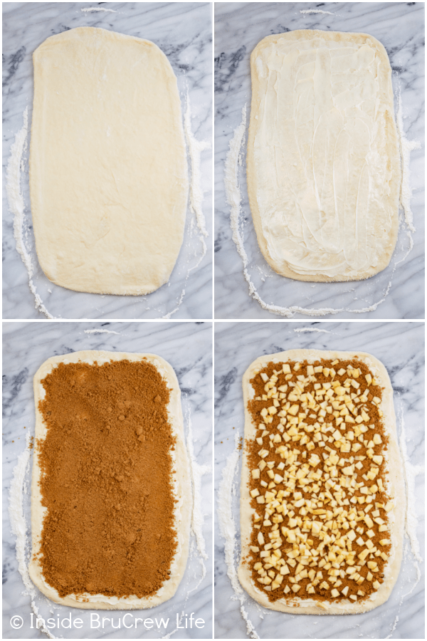 Four pictures collaged together showing how to roll out and fill the dough for apple cinnamon rolls.
