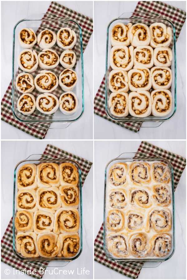 Four pictures collaged together showing the steps to proofing, baking, and frosting apple rolls.