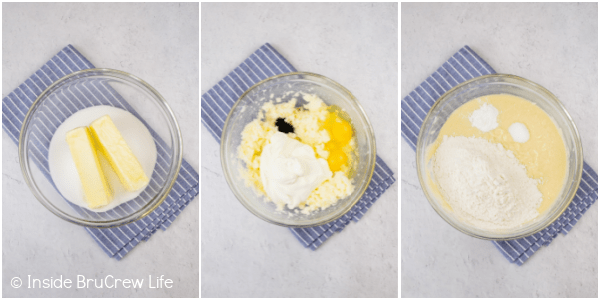 Three pictures collaged together showing the steps to making the coffee cake batter.