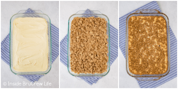 Three pictures collaged together showing the steps to baking a coffee cake.