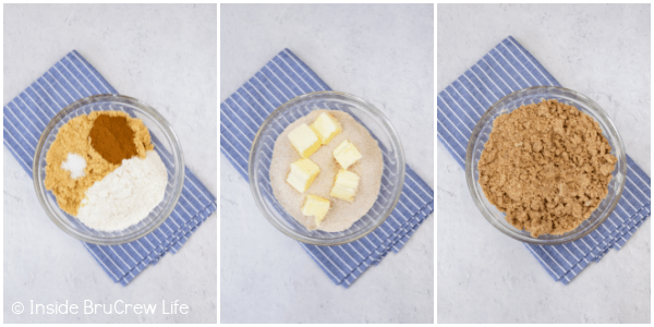 Three pictures collaged together showing the steps to making a brown sugar crumble topping.