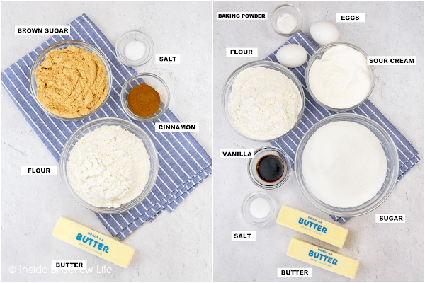 Two pictures of the ingredients needed to make an easy coffee cake collaged together.