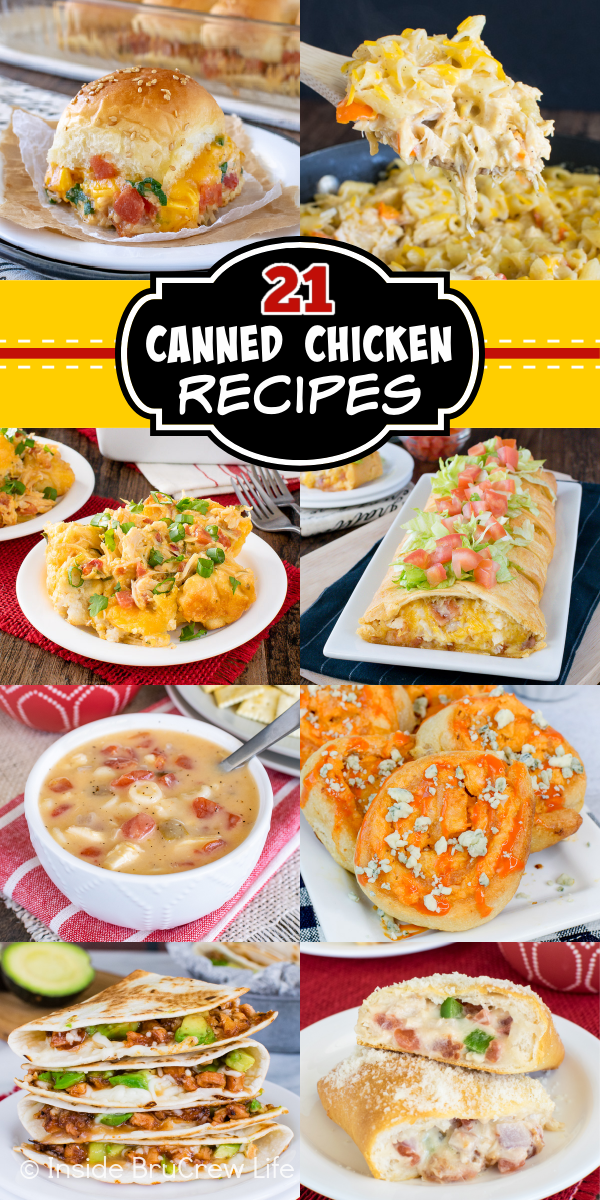 A collage of 6 pictures of easy chicken recipes with a yellow and black text box.