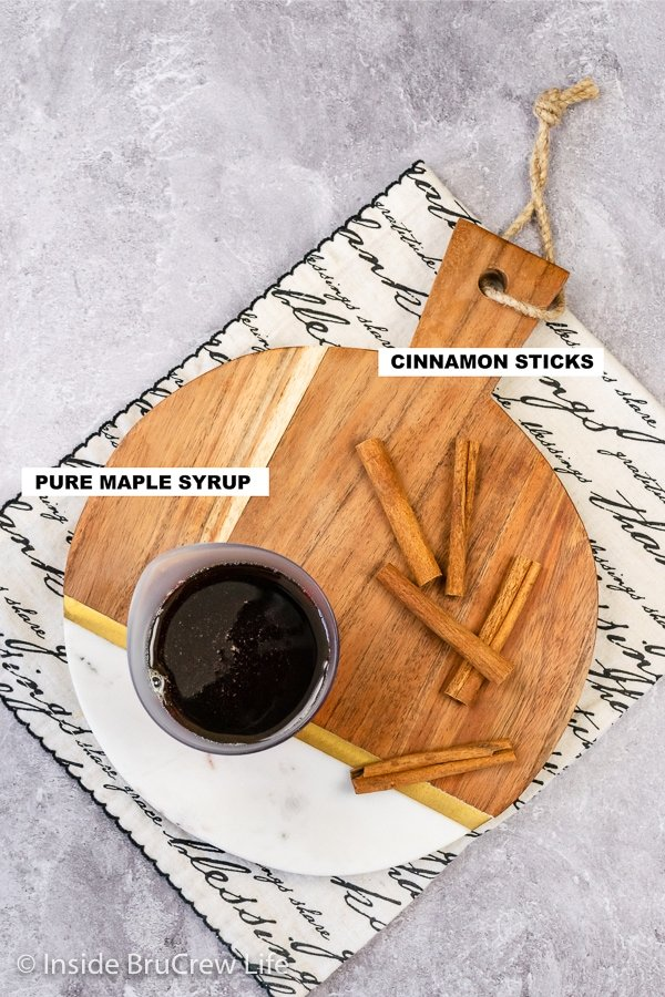 Overhead picture of the ingredients needed to make a Cinnamon Maple Syrup.