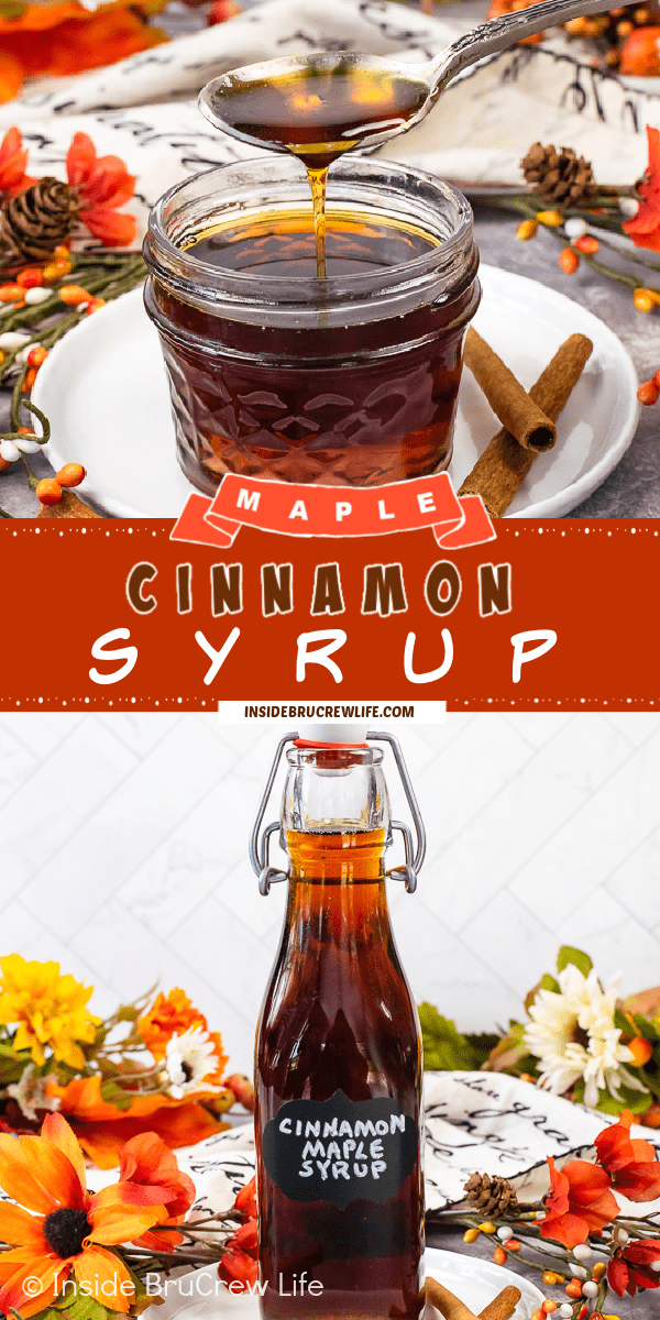 Two pictures of Cinnamon Syrup collaged together with a red text box.
